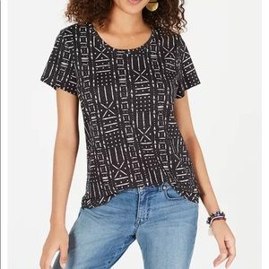 Sz S Style & Company Printed Scoop Neck Top NWT